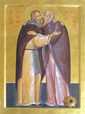 Икона преподобных Зосимы (Верховского) и Василиска Сибирского