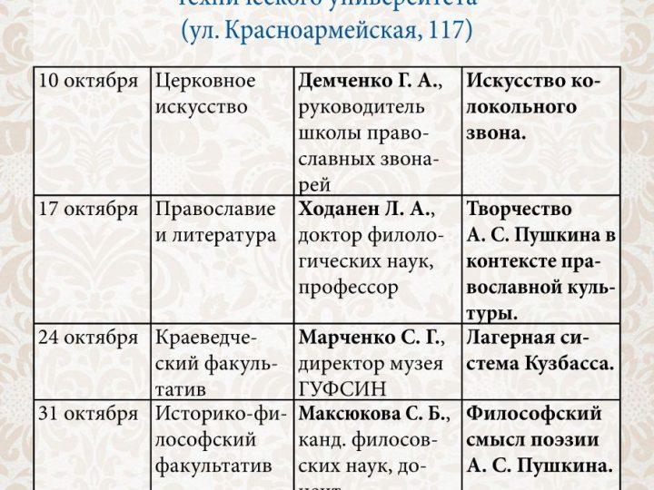 Факультативы Православных богословских курсов в Кемерове