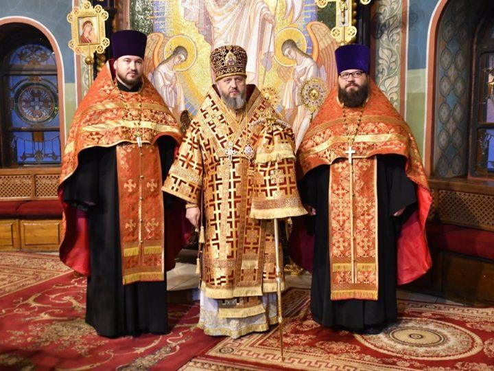 В канун недели о мытаре и фарисее митрополит Аристарх совершил Всенощное бдение в Знаменском кафедральном соборе
