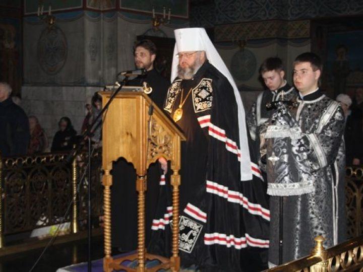 Митрополит Аристарх совершил повечерие с чтением покаянного канона прп. Андрея Критского в Знаменском соборе