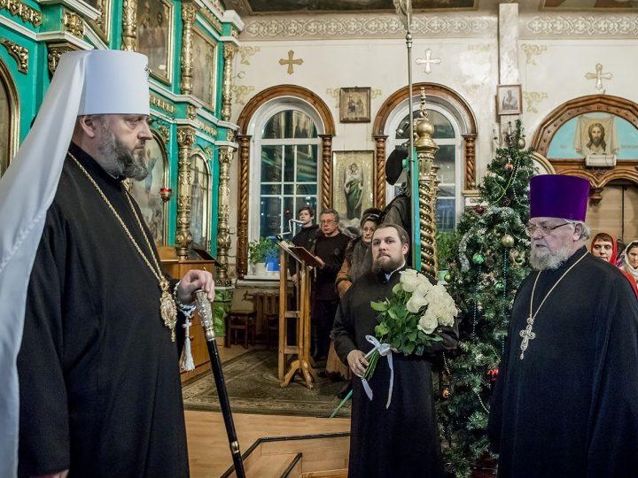 В канун недели по Рождестве Христовом митрополит Аристарх совершил Всенощное бдение в Вознесенском храме Белово