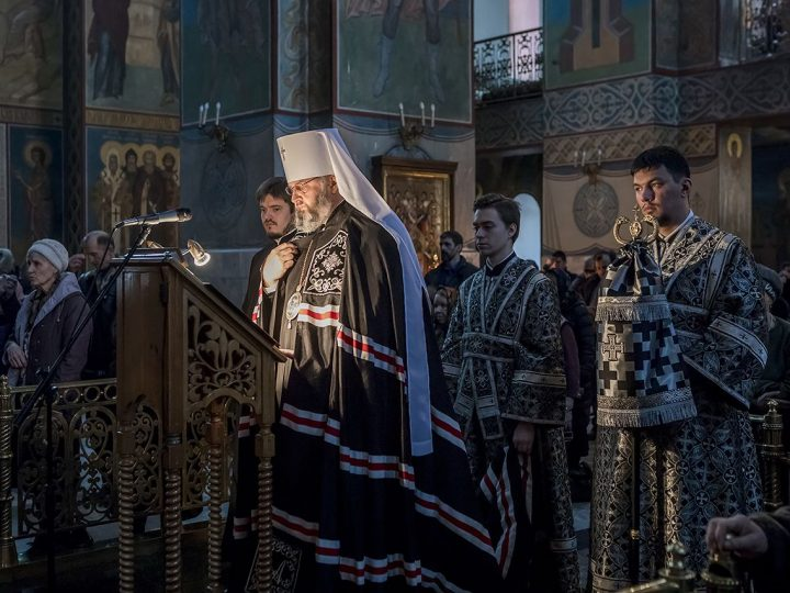 В первый день Великого поста митрополит Аристарх прочел Великий канон в Знаменском соборе