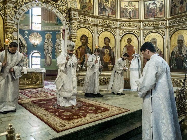 В Троицкую родительскую субботу глава митрополии молился в Знаменском соборе