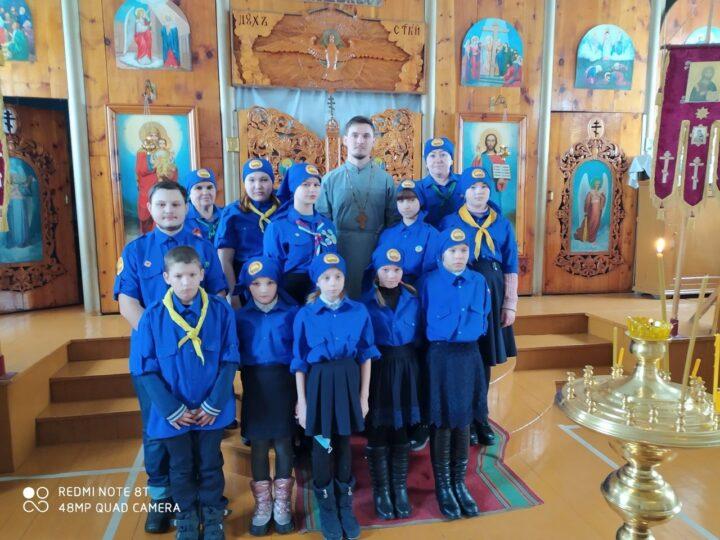 Следопыты из отряда «Адреналин» познакомились с храмом посёлка Каз